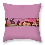 Venice Beach To Santa Monica Pink Throw Pillow by Tony B Conscious