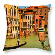 Venice Street Lamp Throw Pillow by Mick Burkey