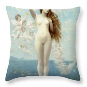 Venus Rising The Star Throw Pillow by Jean Leon Gerome