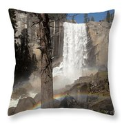 Vernal Falls With Rainbow Throw Pillow by Jane Rix