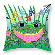 Very Happy Spotted Frog Throw Pillow by Nick Gustafson