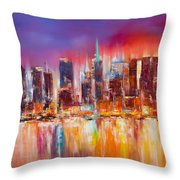 Vibrant New York City Skyline Throw Pillow by Manit