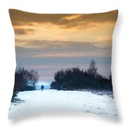 Vibrant Winter Sunrise Landscape Over Snow Covered Countryside Throw Pillow by Matthew Gibson