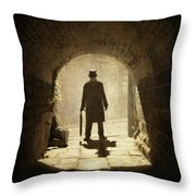 Victorian Man Standing Beneath An Arch Throw Pillow by Lee Avison
