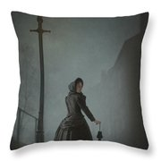 Victorian Woman Under Streetlamp In Fog Throw Pillow by Lee Avison