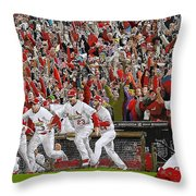 VICTORY - St Louis Cardinals win the World Series Title - Friday Oct 28th 2011 Throw Pillow by Dan Haraga
