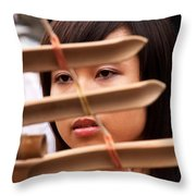 Vietnamese T'rung Player Throw Pillow by Rick Piper Photography