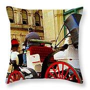 Vieux Port Caleche Scene White Horse Red Wheels Trots Along Cobbled Stones Streets Carole Spandau Throw Pillow by Carole Spandau