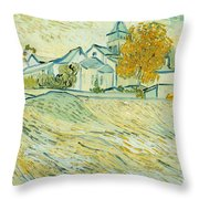 View of Asylum and Saint-Remy Chapel Throw Pillow by Vincent van Gogh