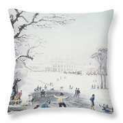 View Of Buckingham House And St James Park In The Winter Throw Pillow by John Burnet
