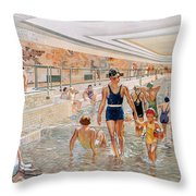 View Of The First Class Swimming Pool Throw Pillow by French School