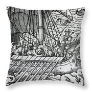 Viking Ship Throw Pillow by German School