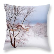 Village Under The Snow. Russia Throw Pillow by Jenny Rainbow