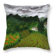 Vineyard And Haystacks Under Stormy Sky Throw Pillow by Vicki Maheu
