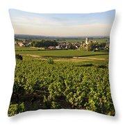 Vineyard And Village Of Pommard. Cote D'or. Route Des Grands Crus. Burgundy.france. Europe Throw Pillow by Bernard Jaubert