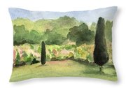 Vineyard In Provence Watercolor Paintings Of France Throw Pillow by Beverly Brown Prints
