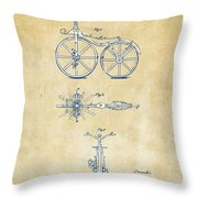 Vintage 1866 Velocipede Bicycle Patent Artwork Throw Pillow by Nikki Marie Smith