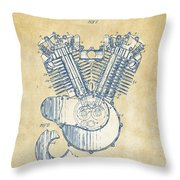 Vintage 1923 Harley Engine Patent Artwork Throw Pillow by Nikki Marie Smith