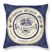 Vintage Cheese Label 5 Throw Pillow by Debbie DeWitt