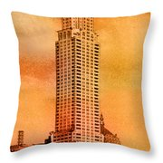 Vintage Chrysler Building Throw Pillow by Andrew Fare