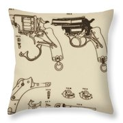 Vintage Colt Revolver Drawing Throw Pillow by Nenad Cerovic