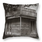 Vintage D'hanis Texas Business Throw Pillow by Priscilla Burgers