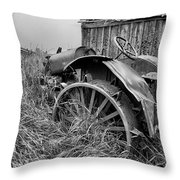 Vintage Farm Tractor Throw Pillow by Theresa Tahara