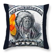 Vintage Five Spot Throw Pillow by Chris Berry