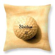 Vintage Golf Ball Throw Pillow by Anita Lewis