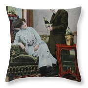Vintage Handtinted Postcard Of 1904 Of Two Lovers Throw Pillow by Patricia Hofmeester