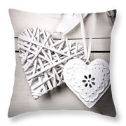 Vintage Hearts Throw Pillow by Jane Rix