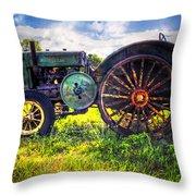 Vintage John Deere Throw Pillow by Debra and Dave Vanderlaan