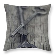 Vintage Keys Throw Pillow by Priska Wettstein