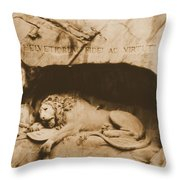 Vintage Lion Of Lucerne Throw Pillow by Dan Sproul