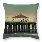 Vintage Manhattan Beach Pier Throw Pillow by Kim Hojnacki