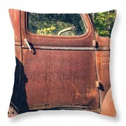 Vintage Old Rusty Truck Throw Pillow by Edward Fielding