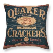 Vintage Quaker Crackers For The Kitchen Throw Pillow by Lisa Russo