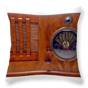 Vintage Radio Throw Pillow by Olivier Le Queinec