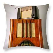 Vintage Radios Throw Pillow by Carlos Caetano