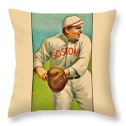 Vintage Red Sox Throw Pillow by Benjamin Yeager