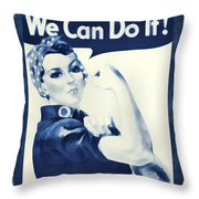 Vintage Rosie The Riveter Throw Pillow by Dan Sproul