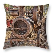 Vintage Steam Tractor Throw Pillow by Douglas Barnard