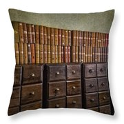 Vintage Storage Throw Pillow by Susan Candelario