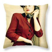Vintage Woman Throw Pillow by Diane Diederich