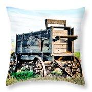 Vintaged Covered Wagon Throw Pillow by Athena Mckinzie