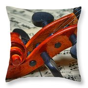 Violin Scroll Up Close Throw Pillow by Paul Ward