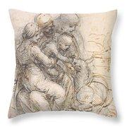 Virgin And Child With St. Anne Throw Pillow by Leonardo da Vinci