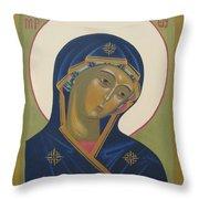Virgin Mary Icon Throw Pillow by Seija Talolahti
