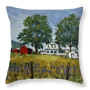 Virginia Highlands Farm Throw Pillow by Peter Muzyka
