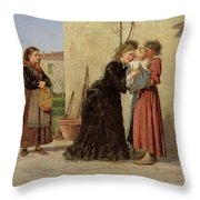 Visiting The Wet Nurse Throw Pillow by Silvestro Lega